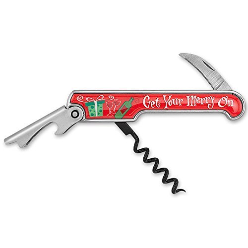 Get Your Merry On Enamel Corkscrew Red Green Holiday Theme Artwork - $12.99