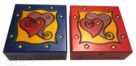 Two Hearts Jewelry Box Polish Linden Wood Handmade  Keepsake Valentine H... - €25,84 EUR