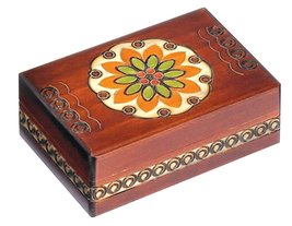 Floral Jewelry Box Polish Handmade Wood Keepsake - €30,15 EUR