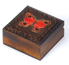 Butterfly Box Polish Handmade Wood Keepsake Kids Girls Small Jewelry Box - €16,70 EUR