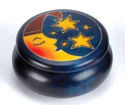 Celestial Carved Moon and Stars Polish Wood Round Box Handmade Keepsake - $28.41