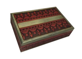Polish Handmade Jewelry Box Linden Wood Keepsake Elegant Design - €31,01 EUR