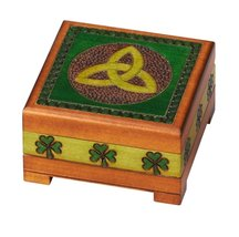 Celtic Shamrock Box Polish Handmade Linden Wood Keepsake Jewelry Box - €30,15 EUR