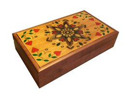 Polish Handmade Wood Traditional Jewelry Box Floral & Heart Design Keepsake - €47,39 EUR