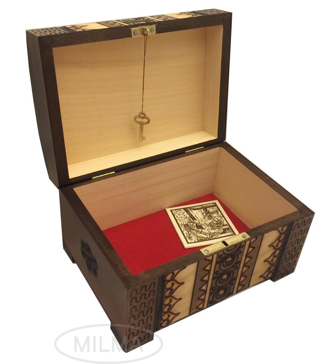 Polish handmade wooden chest linden wood jewelry keepsake for Jewelry box with key
