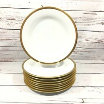 Set of 9 Pottery Barn White 11Inch Dinner Plates Gold Trim Made In Japan - $44.55