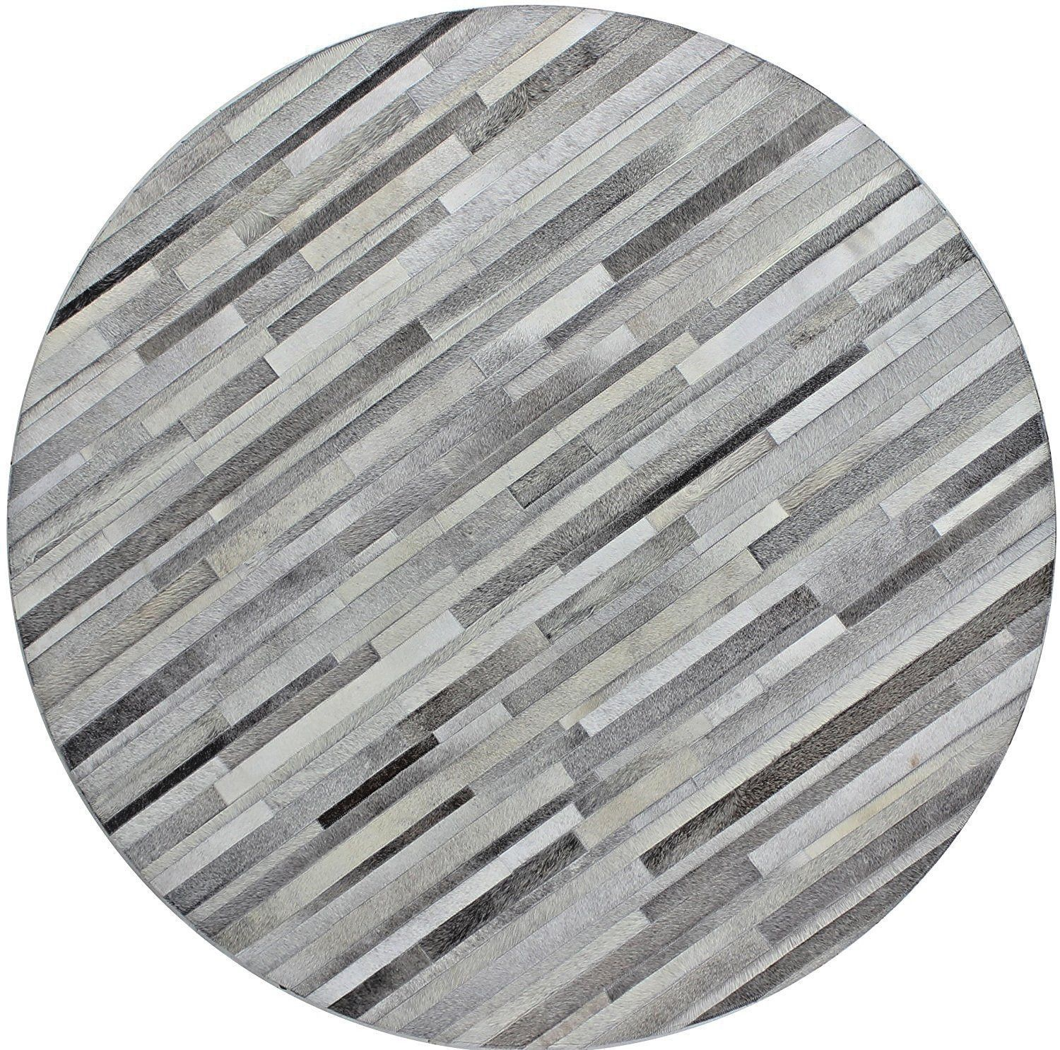Primary image for Bashian Hunter Santa Fe Hand Stitched round Cowhide Area Rug Gray  6' x 6'