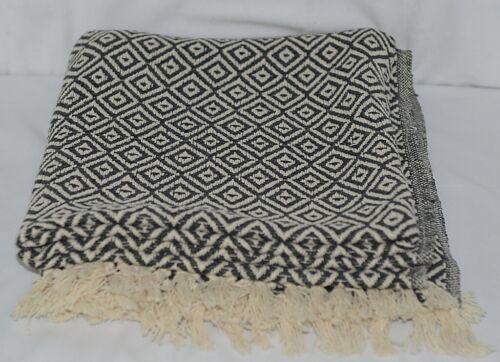 CBK Brand Cream Dark Grey Woven Diamond Tasseled Throw Blanket