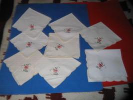 "Set of 8 Sewn linen table Settings, Leaf Pattern. 16"" x 16' - $6.92"