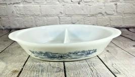 Vintage Glasbake Divided Dish, Currier & Ives Sleigh Print, J-2352, Americana - $14.84