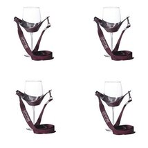 WineYoke Party Time Hand Free Wine Glass Holder Necklace - Set of 4 (Burgundy) - $16.65