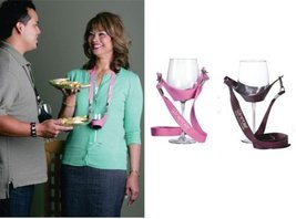 WineYoke Party Time Hand Free Wine Glass Holder Necklace - Set of 2 (Pink & B... - $11.75