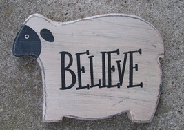 KLY60422 - Chunky Sheep-Believe  Primitive wood   - $6.95