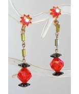Fantastic Mod 60s Stunning Black & Orange Iridescent Cut Glass Earrings ... - $19.75
