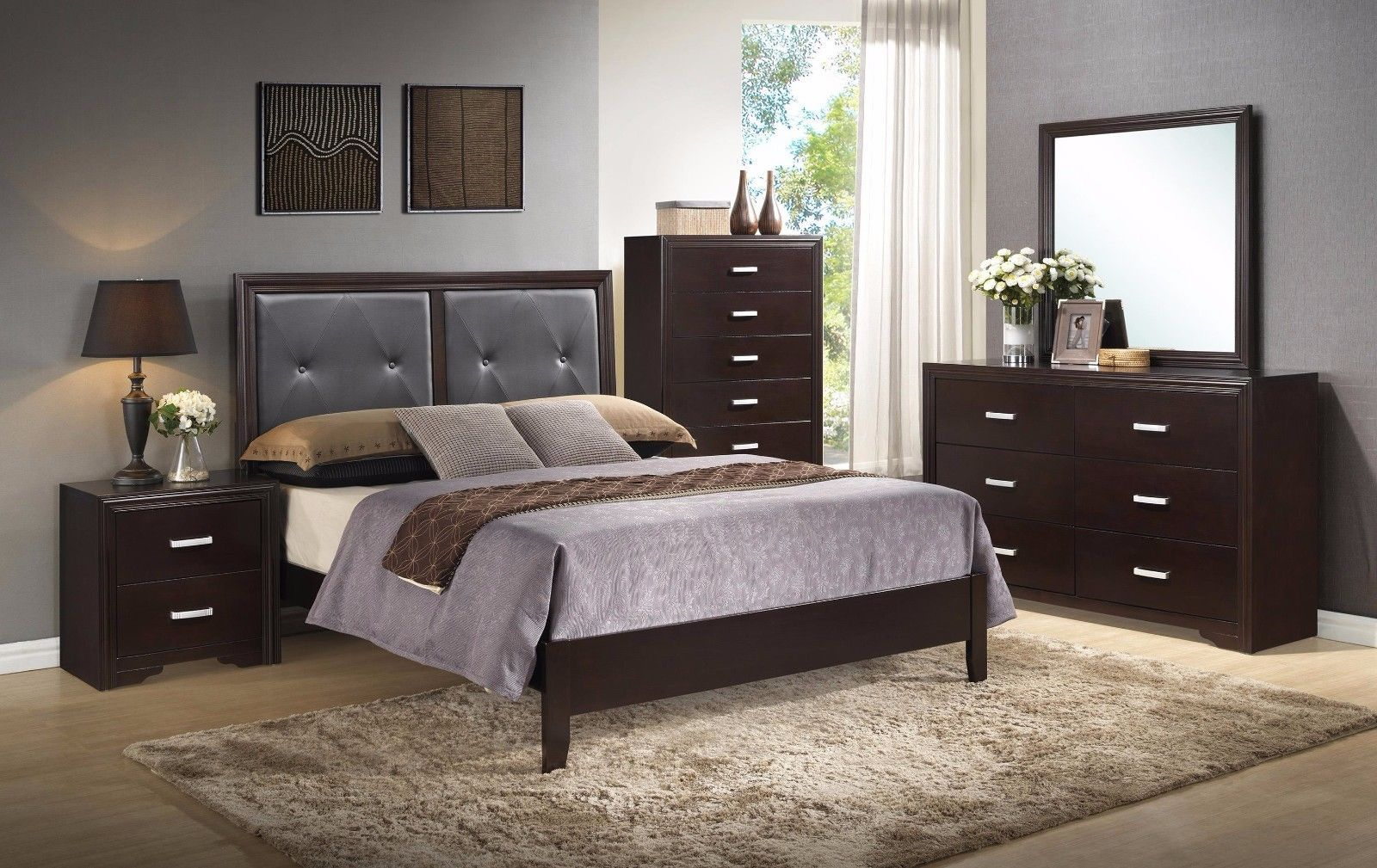 Crown Mark RB5300 Elijah Queen Size Bedroom Set 5pc. Brown Transitional Style