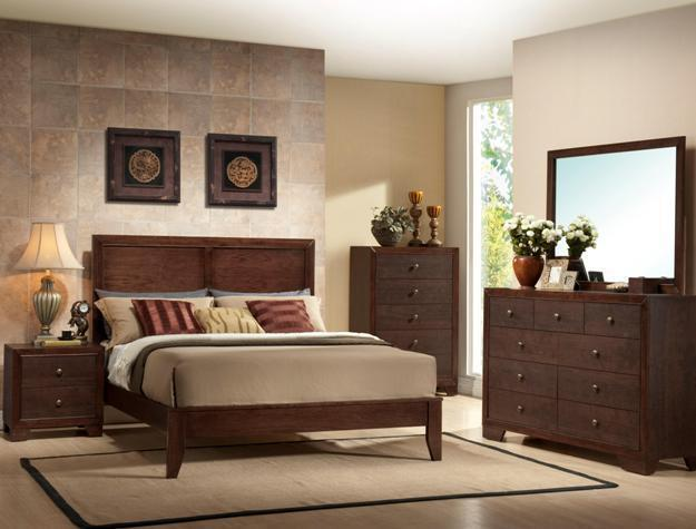Crown Mark RB4600 Silvia Queen Size Bedroom Set 5pc. Brown Transitional Style