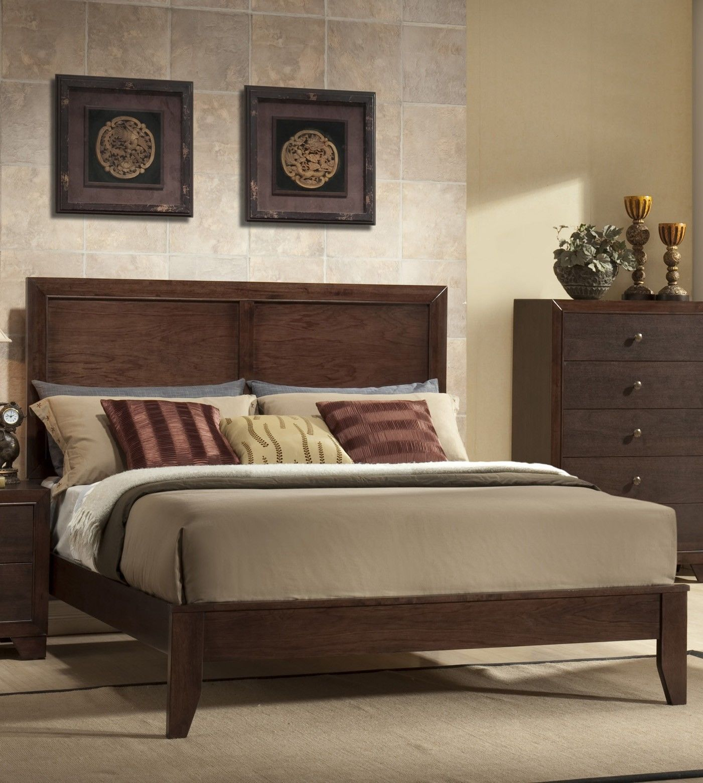 transitional style bedroom furniture crown rb4600 size bedroom set 5pc brown 17571