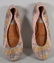 Lanvin Womens Leather Crinkled Snake Print Ballet Flat Shoes Multi Color 36 - $148.50