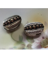 Vintage AVON Oval Polished Metal Magnetic Reversible Clip On Earrings - $21.98
