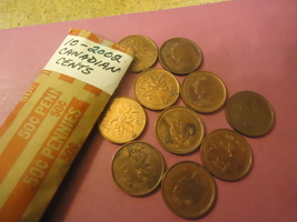 2002 CANADIAN CENT LOT OF TEN COINS              COMBINED SHIPPING - $1.15