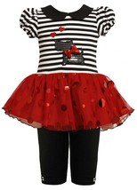 Bonnie Jean Little Girl 2T-4T Scottie Puppy Dog Sparkle Tutu Dress/legging Set