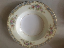 OLD NORITAKE MISTERY CHINA  SOUP BOWL OCCUPIED JAPAN BORDER FLORAL MINT - $24.75