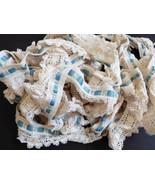 VTG Ecru & Blue Scalloped Rafle color Edging Lace Trim Crafts Trim Doll ... - $44.55