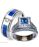 His & Hers Halo Sapphire Blue & Clear Cz Weddin... - $31.99