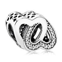 925 Sterling Silver Entwined Love Charm Bead with Clear Zirconia QJCB902 - $20.66