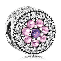 925 Sterling Silver Dazzling Floral with Multi-Color CZ Charm Bead QJCB879 - $24.99