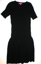 New Womens Betsey Johnson Drop Waist Sweater Dress Black S Small Knee Ra... - $3.441,96 MXN