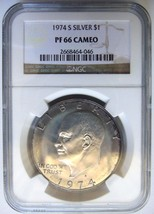 1974 S Eisenhower Ike Ngc Pf 66 Cameo Silver Dollar Blue Halo Toning Toned Coin - $69.99