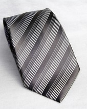 Kenneth Cole Reaction Silver Gray Striped Design 100% Silk Men's Necktie Tie image 1