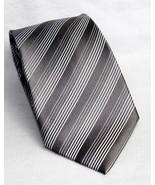 Kenneth Cole Reaction Silver Gray Striped Design 100% Silk Men's Necktie... - $10.93