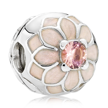 925 Sterling Silver Blooming Dahlia with Cream Enamel Clip Charm Bead QJ... - $22.88