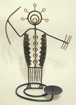 Tribal Warrior Metal Candle Holder Abstract Design - $57.91