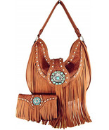 Western Cowgirl Concealed Carry Fringe Concho Agate Handbag Hobo Shoulderbag Set - £35.91 GBP