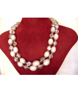 Vintage Marvella Necklace AB Crystal White Lucite Bead 2 Strand Signed - $38.00