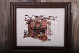 Hearth With Wreath Framed Finished Cross Stitch Hand Stitched Embroidery - $28.04