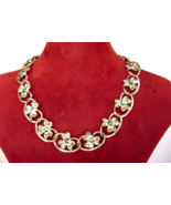 Vintage Coro Blue AB Rhinestone Link Flower Gold Tone Necklace Mint ! - $25.00