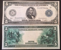 Reproduction $5 1914 Federal Reserve Note Lincoln Columbus Pilgrims Minneapolis - $2.96