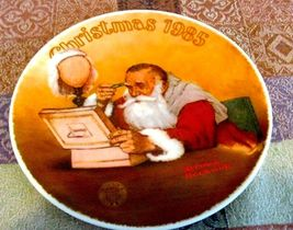 """Grandpa Plays Santa  Rockwell Limited Edition Christmas Plate 1985 - $5.99"