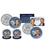 HILLARY CLINTON & TIM KAINE DEMOCRAT PRESIDENT 2016 JFK HALF DOLLAR 2 CO... - $19.59