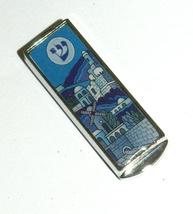 Judaica Car Mezuzah Case Aluminum Epoxy Jerusalem View w Blessing Hebrew 4 cm