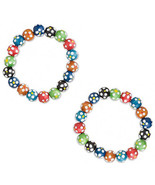 Bracelet Multi-Wood Colors Polka Dot (Listing is for 1 pair set of 2) - $5.23