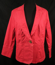 CAbi-Carol Anderson Coral Red Blazer Jacket Light Weight Casual Career Wear - $15.95