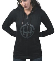 In Gods Hands Logo Womens Rubik Black Grey Fleece Zip Up Hoodie NWT