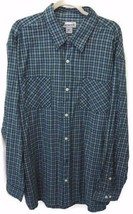 Carhartt Shirt 2XL Turquoise Blue Plaid Button Down Long Sleeves Two Ext... - $40.54