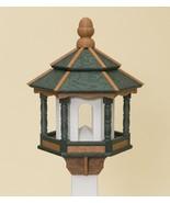 BIRD FEEDER ~ Amish Handmade Recycled Poly Hexagon ~ Green Cedar & White... - $158.85