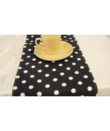 POLKA DOT LINENS- Table runner, napkins, placemats, white dots on Black ... - $12.50